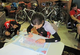 Cyclists planning their route